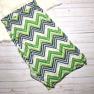 Ana Chevron Maxi Skirt XL Green/Blue Side  Slits